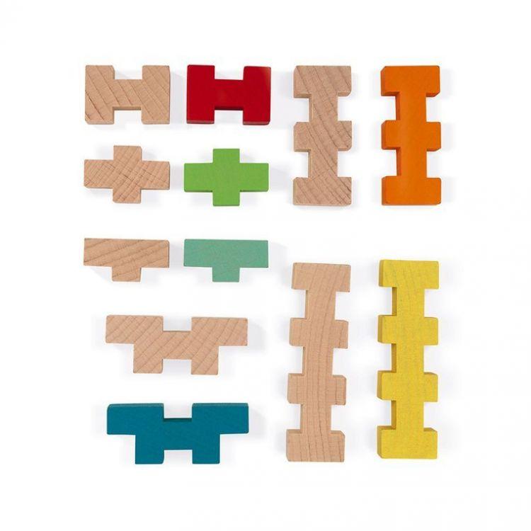 Janod - Drewniane Klocki Konstrukcyjne 100 Elementów 4+