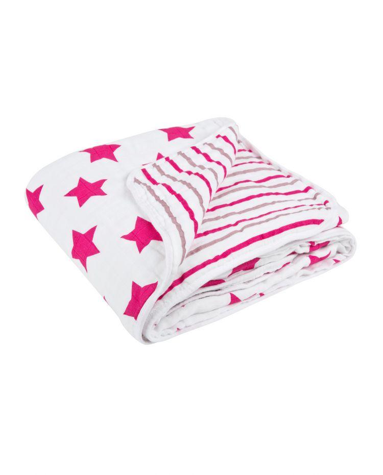 Lassig - Muslinowy Kocyk Kołderka Star&Stripes Różowa
