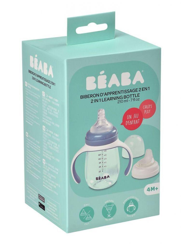 Beaba - Tritanowa Butelka Treningowa 2w1 210ml Windy Blue