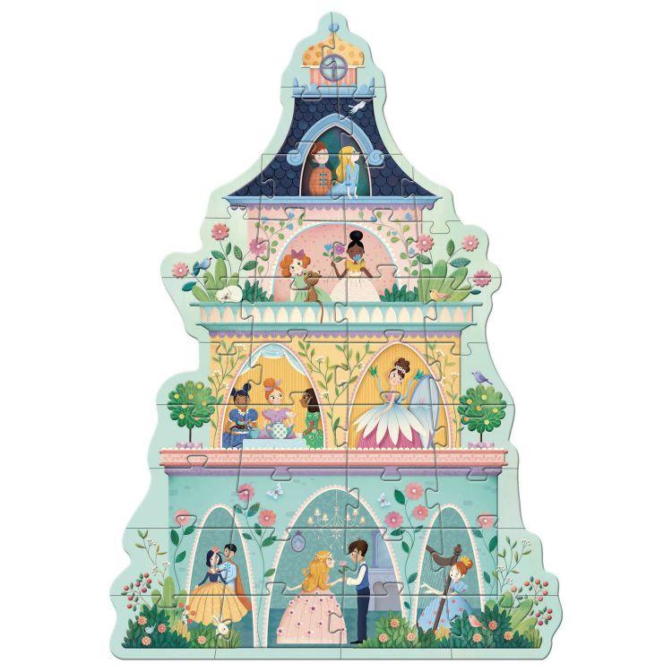 Djeco - Puzzle Kartonowe Gigant Wieża Księżniczek 4+