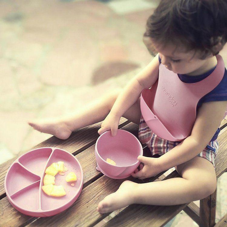 Everyday Baby - Śliniak Silikonowy z Kieszonką Różowy