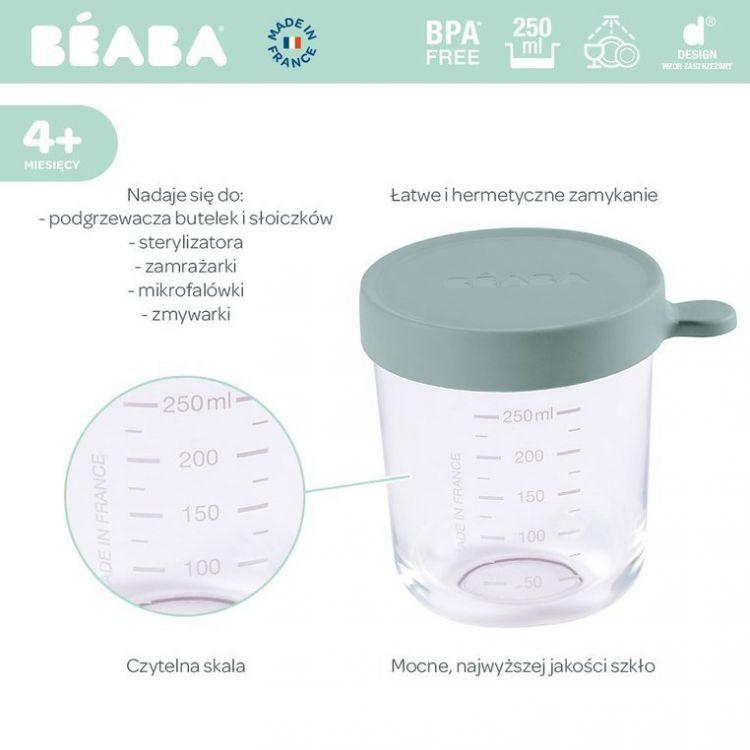 Beaba - Pojemnik Słoiczek Szklany z Hermetycznym Zamknięciem Eucalyptus Green250ml