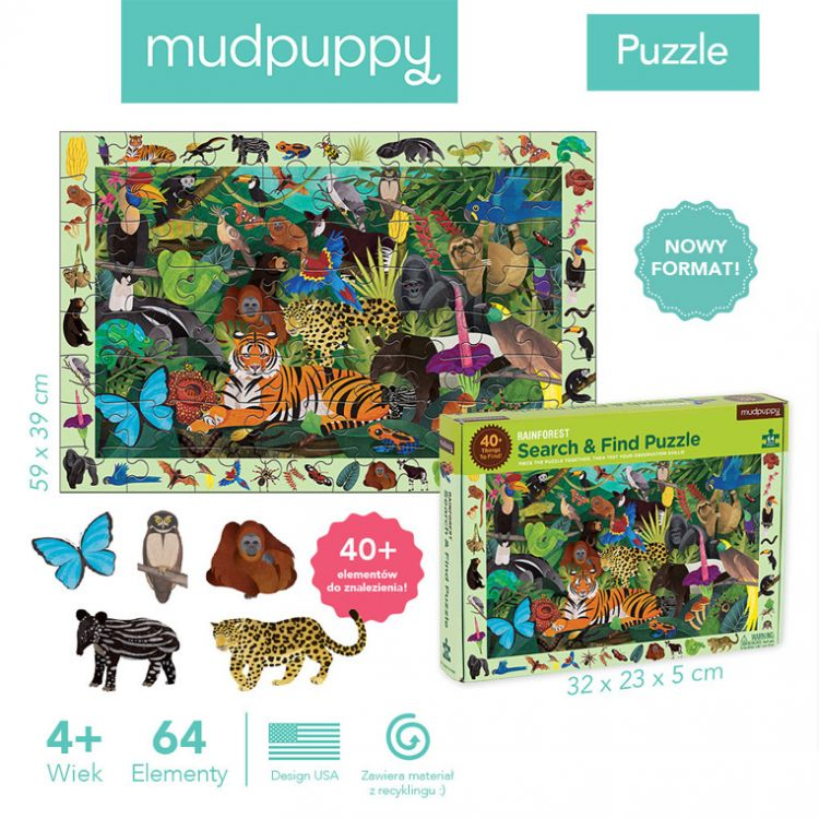 Mudpuppy - Puzzle Szukaj i Znajdź Las Tropikalny 64 Elementy