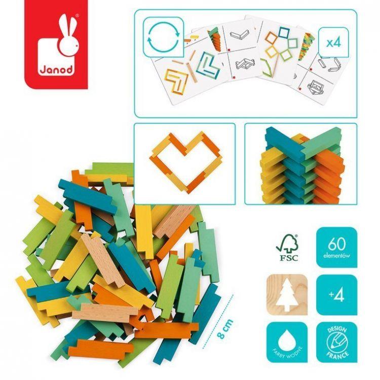 Janod - Drewniane Klocki Konstrukcyjne 60 Elementów 4+