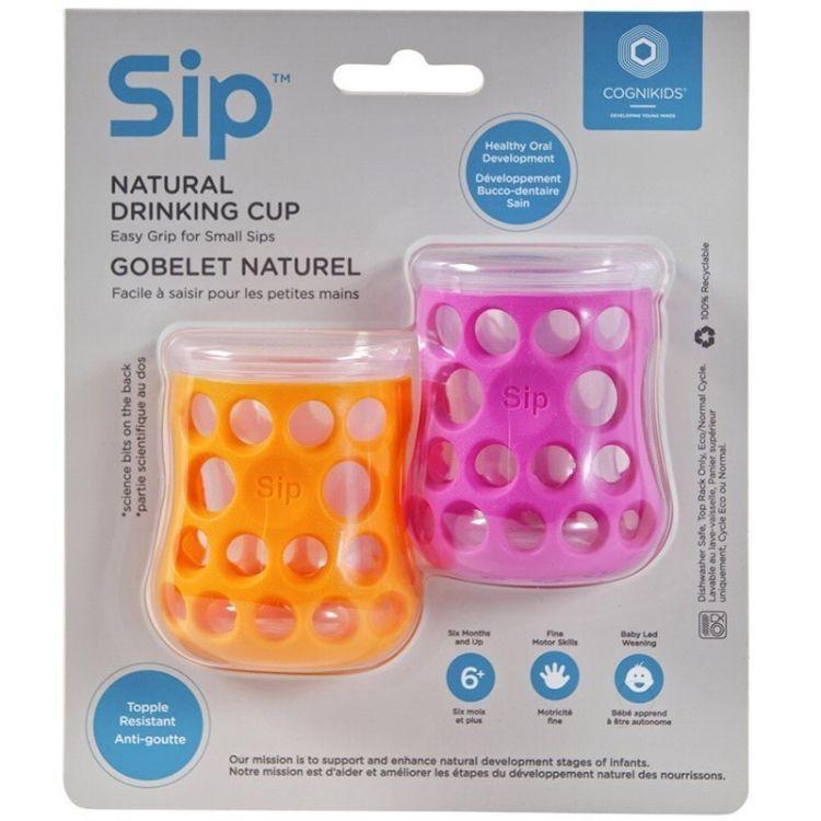 CogniKids - Natural Drinking Cup 2 Sensoryczne Kubeczki do Nauki Picia dla Niemowląt Tengerin Flamingo
