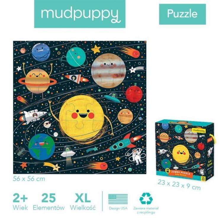 Mudpuppy - Puzzle Podłogowe Jumbo Układ Słoneczny 25 Elementów 2+