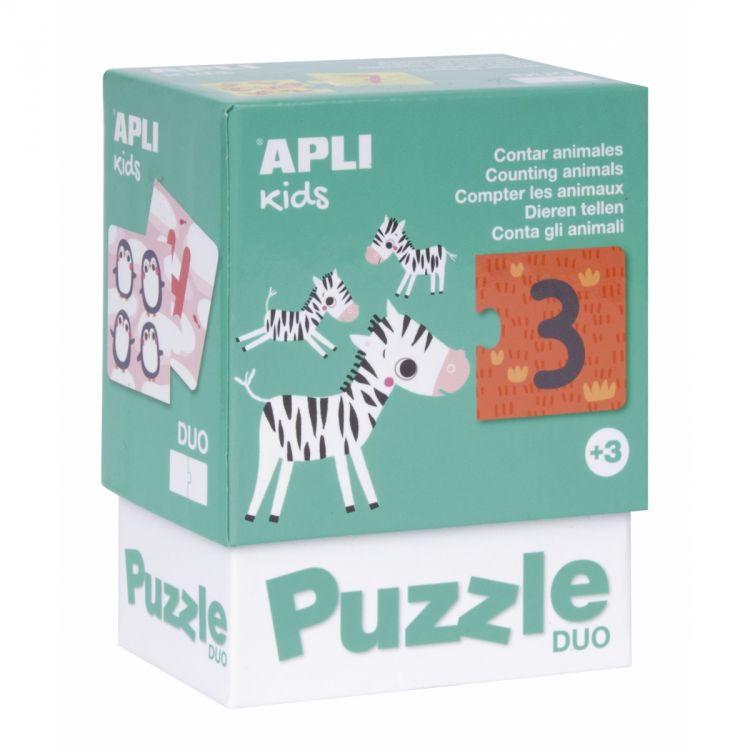 Apli Kids - Puzzle Dwuczęściowe Liczenie Zwierzątek 3+