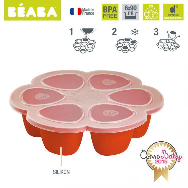Beaba - Silikonowy Pojemnik do Mrożenia 6 x 90 ml Paprika