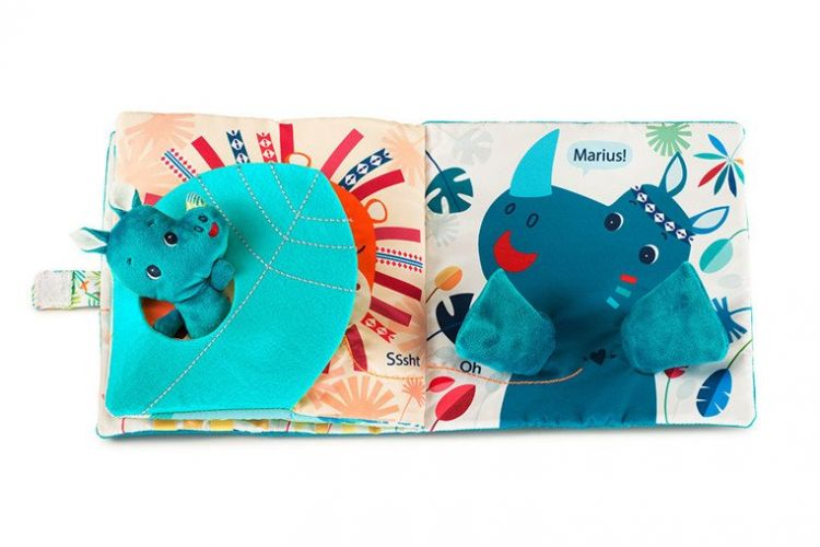 Lilliputiens - Książeczka z Mini-Przytulanką Wielofunkcyjną Nosorożec Marius 12m+