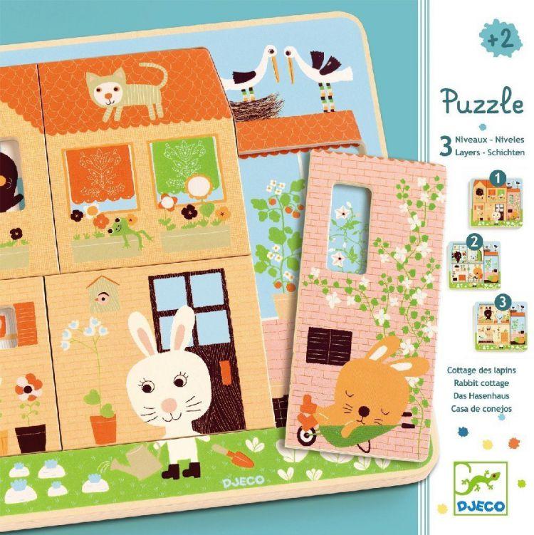 Djeco - Puzzle dla Najmłodszych 3 Plansze Króliczki 2+