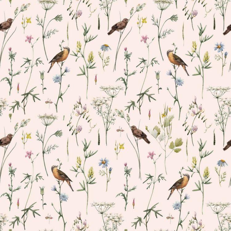 Dekornik - Tapeta Meadow With Birds Pastel