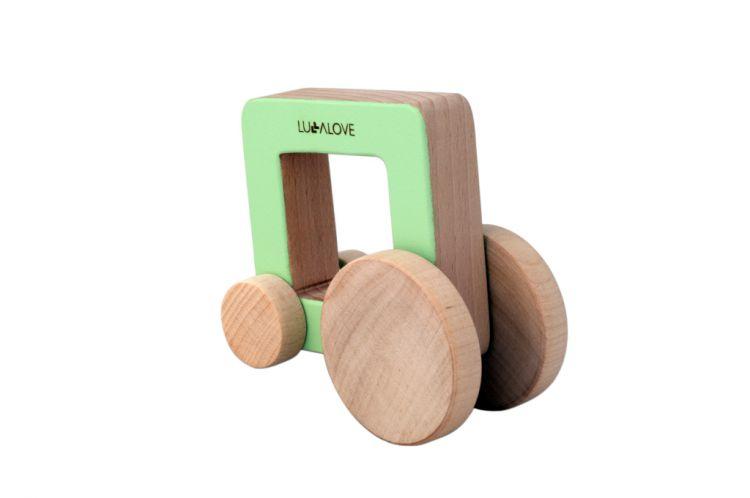 Lullalove - Drewniany Samochodzik z Rączką ODA Car Kwadrat