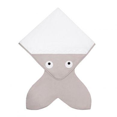 Baby Bites - Ręcznik z Kapturkiem Rekinek 75x75cm Kamienny Szary