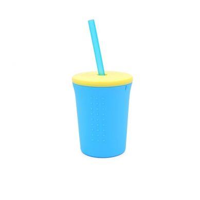 Silikids - Kubek ze Słomką GoSili Aqua/Yellow 350ml