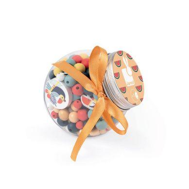 Janod - Zestaw do Tworzenia Biżuterii Drewniane Koraliki z Elementami Flourescencyjnymi Tukany 6+