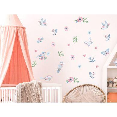 Pastelowelove - Naklejka na Ścianę Ptaszki Różowe