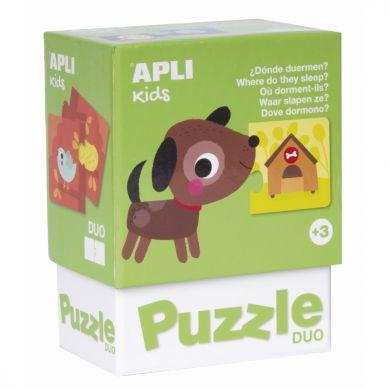 Apli Kids - Puzzle Dwuczęściowe Gdzie mieszkają zwierzątka? 3+