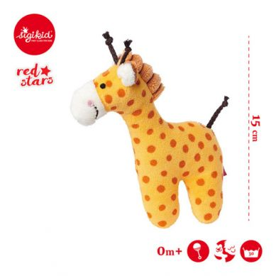 Sigikid - Miękka Mini Grzechotka Żyrafa Red Stars