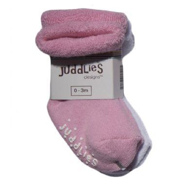 Juddlies - Skarpetki Niemowlęce Pink/White 0-3m