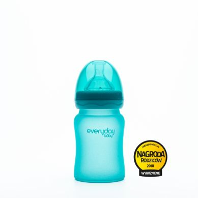 Everyday Baby - Szklana butelka reagująca na temperaturę 150ml Turkusowa