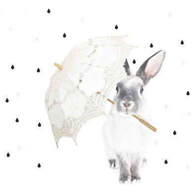 Dekornik - Naklejka Ścienna Królik Harry w Deszczu M