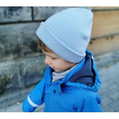 Lullalove - Czapka Wełniana Merino dla Dzieci Błękit S