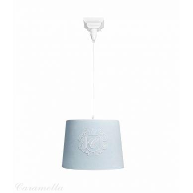 Caramella - Żyrandol Welurowy Błękitny z Emblematem