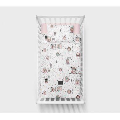 Lullalove - Bawełniana Pościel 100x135 cm Jeż Róż