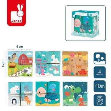 Janod - Klocki do Kąpieli Puzzle 6w1 Zwierzątka 4 elementy 10m+