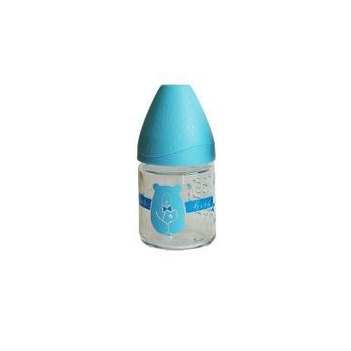 Suavinex - Butelka Szklana 120ml Smoczek Anatomiczny Lateksowy 0-6m Miś Niebieski