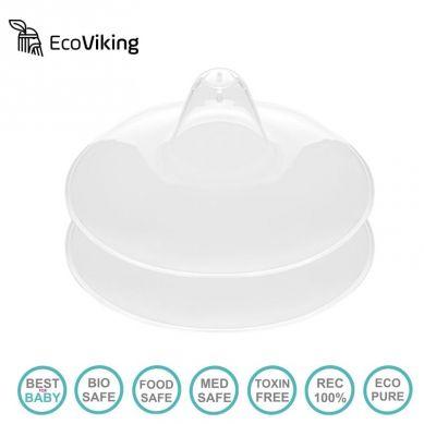 Eco Viking - Silikonowe Ultracienkie Osłonki Brodawek z Kieszonką na Mleko 2 szt