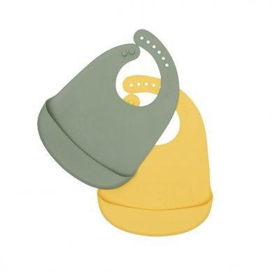 We Might Be Tiny - Zestaw Śliniaków Silikonowych z Kieszonką Sage + Yellow
