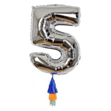 Meri Meri - Balon Cyfra 5 Srebrny