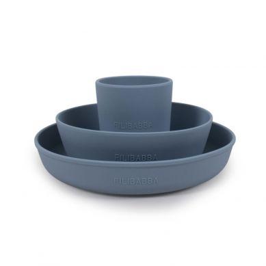 Filibabba - Silikonowy Zestaw Obiadowy Powder Blue