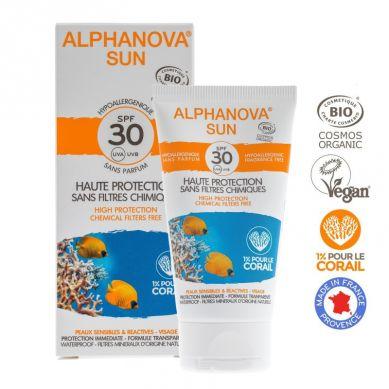 Alphanova Bebe- Alphanova Sun BIO Krem przeciwsłoneczny, hipoalergiczny, wodoodporny, filtr SPF30