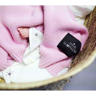 Lullalove - Bambusowy koc tkany Róż