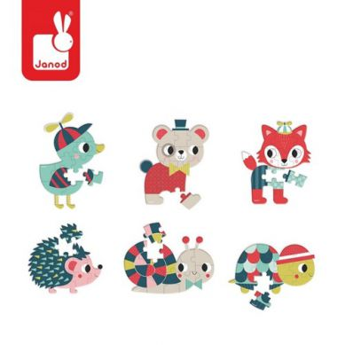 Janod - Mini Puzzle Baby Forest Miś