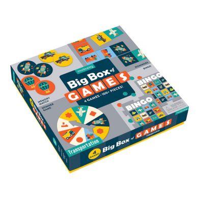 Mudpuppy - Zestaw 4 gier – Memo, Bingo, Domino i Koło fortuny Transport