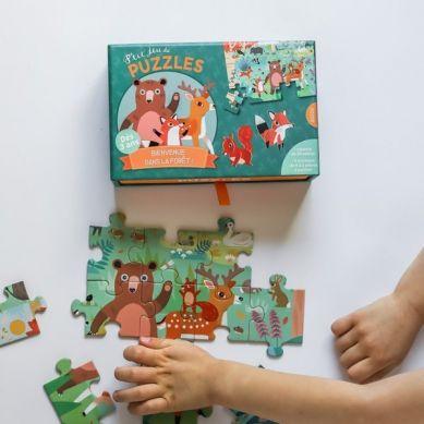 Auzou - Puzzle Leśny Świat + Kartonowe Zwierzątka 3+