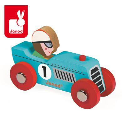 Janod - Wyścigówka Drewniana Retromotor Niebieska