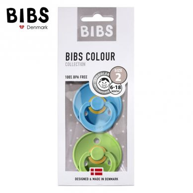 BIBS - Smoczek Uspokajający Hevea 2-pack M Clear Water Pear