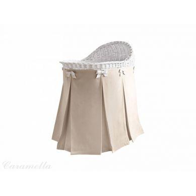 Caramella - Mobilne Łóżeczko Wiklinowe ze Spódnicą Aksamitna Beżową