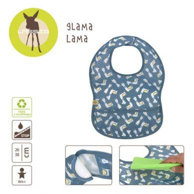 Lassig - Śliniak Wodoodporny 6m+ Glama Lama Blue Repreve
