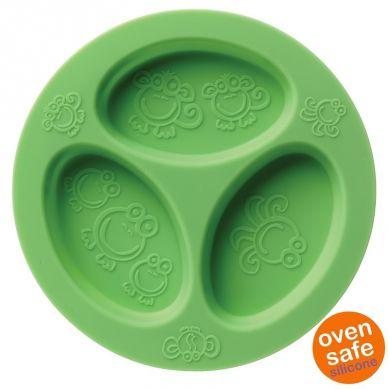Oogaa - Silikonowy Talerzyk Trójdzielny Green Divided Plate