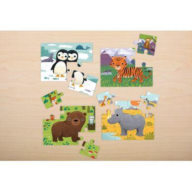 Mudpuppy - Puzzle 4w1 Zwierzęta Świata 4, 6, 9 i 12 Elementów