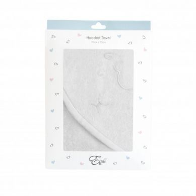 Effii - Ręcznik z Kapturkiem Owieczka, Biały z Białą Lamówką 95x95 cm