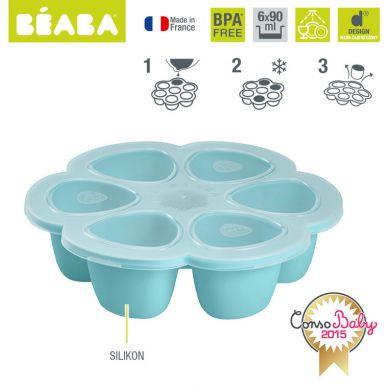 Beaba - Silikonowy Pojemnik do Mrożenia 6 x 90 ml Blue