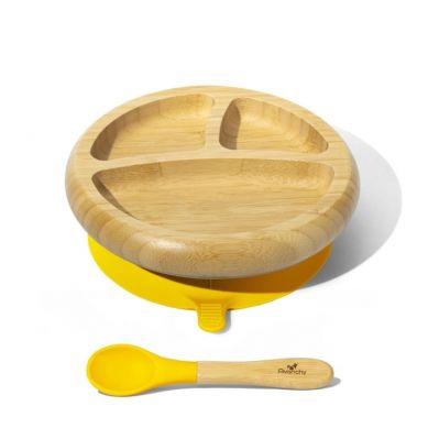 Avanchy - Baby Bambusowy Talerz z Przyssawką i Przegródkami z Łyżeczką 4m+ Yellow