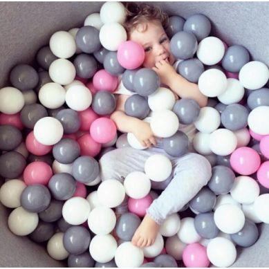 Misioo - Suchy Basen z 200 Piłeczkami 40 cm Szary + 200 Dodatkowych Piłek
