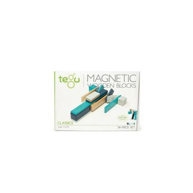 Tegu - Drewniane Klocki Magnetyczne Classics Zestaw 24szt Blues